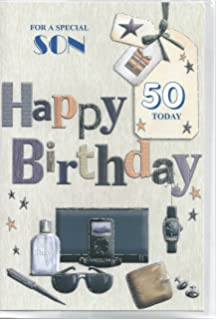 Sons 50th birthday card to a very special son on your 50th for a specil son 50th happy birthday card bookmarktalkfo Choice Image