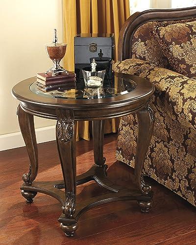 FurnitureMaxx Norcastle Dark Brown Wood Round End Table