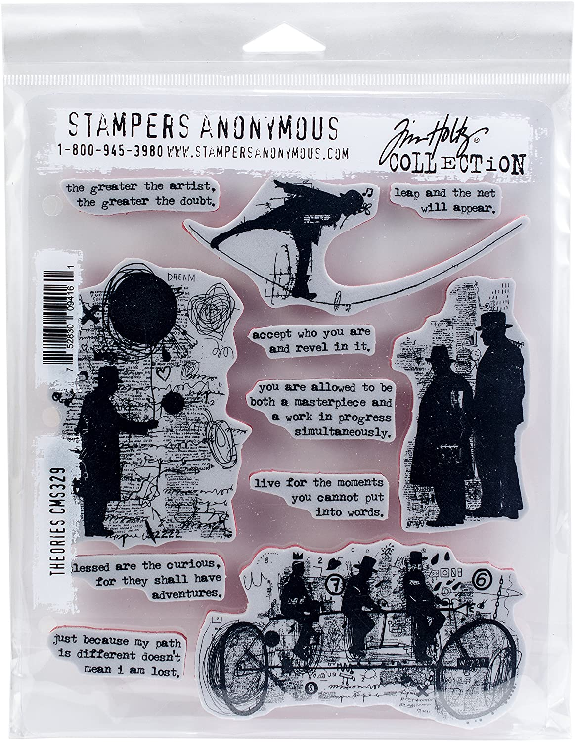 Stampers Anonymous Tim Holtz Cling Mount Stamps - Theories CMS329