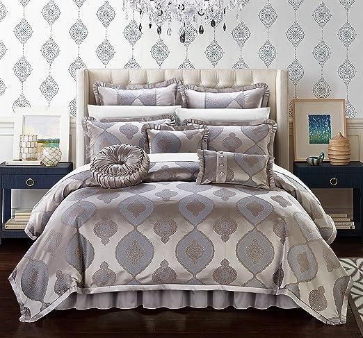 New Chic Pleating Design Grey Comforter Shams Bedskirt 7 pcs King Queen Set