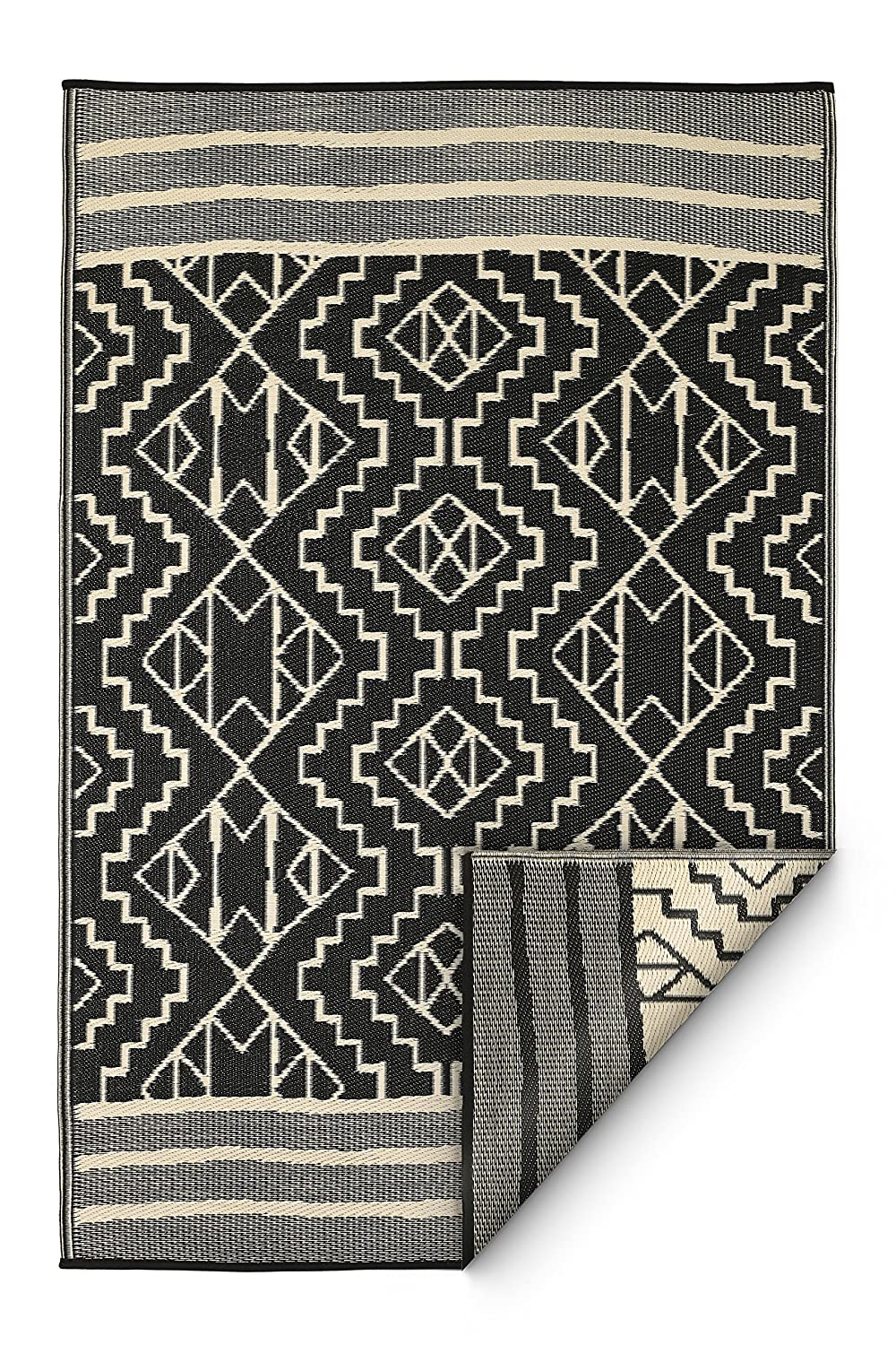 FAB HAB Reversible, Indoor/Outdoor Weather Resistant Floor Mat/Rug - Kilimanjaro - Black (240 cm x 300 cm) 788581188637