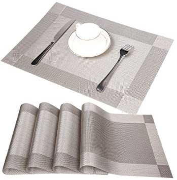 famibay pvc place mats heat insulation stain resistant woven table mats for kitchen set - Kitchen Table Mats