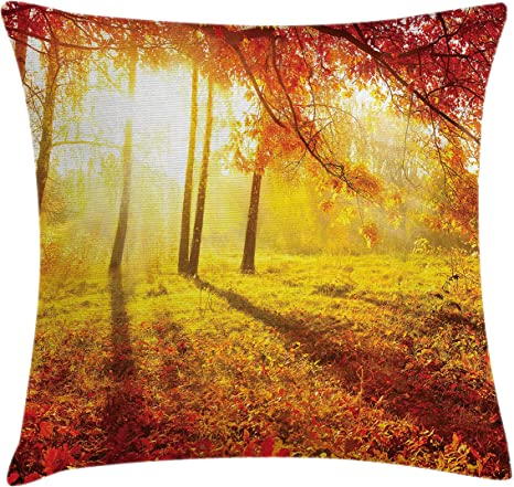 Amazon Com Ambesonne Maple Tree Throw Pillow Cushion Cover Canadian Tree In Park Landscape In Countryside Rural Tranquil Foliage Image Decorative Square Accent Pillow Case 24 X 24 Yellow Orange Home Kitchen