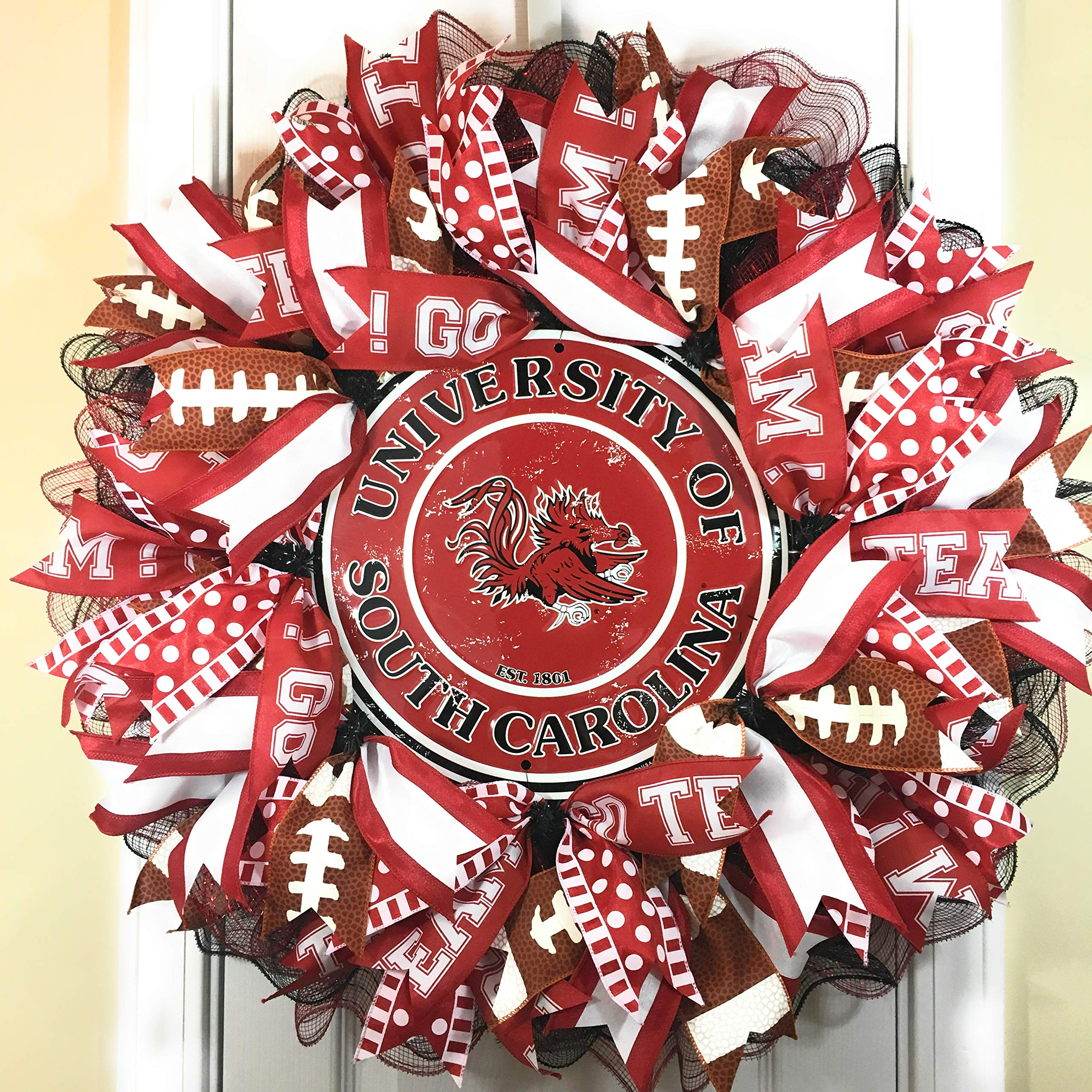 South Carolina Gamecock Wreath for front door with deco mesh & ribbon, USC, 26''