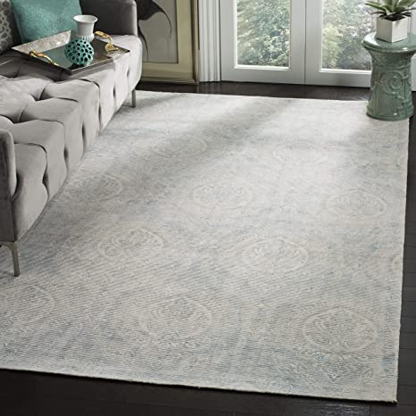 Safavieh MRB405K-8 Marbella Collection Turquoise and Ivory Premium Wool Area Rug, 8 x 10,