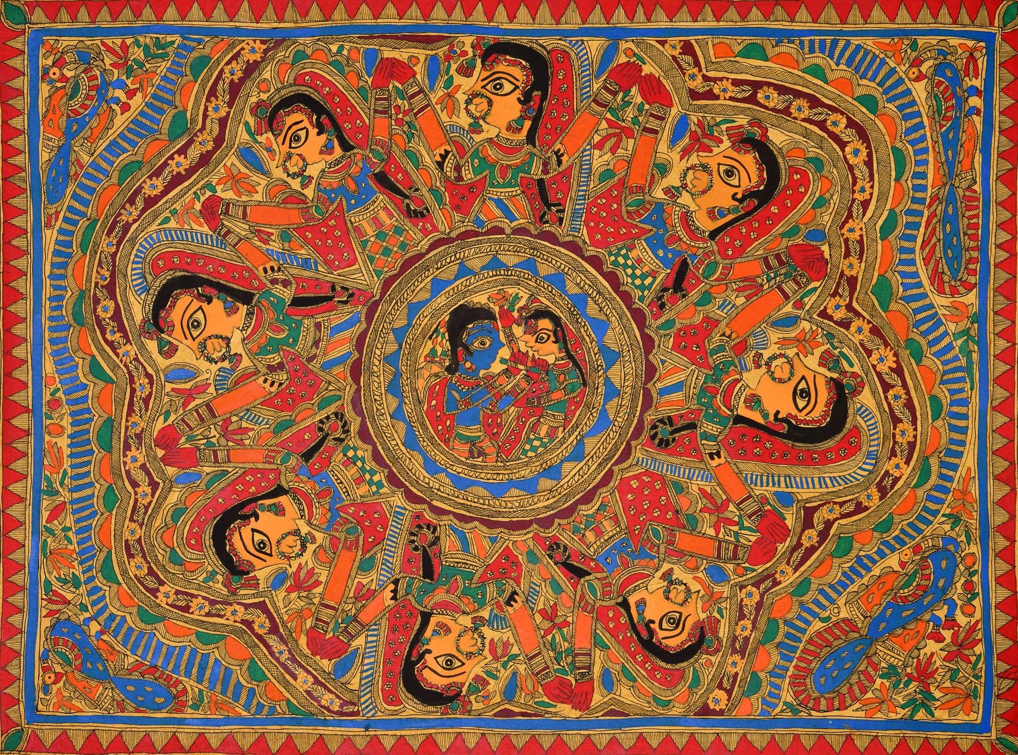 Rasa Leela - Madhubani Painting on Hand Made Paper treated with Cow Dung