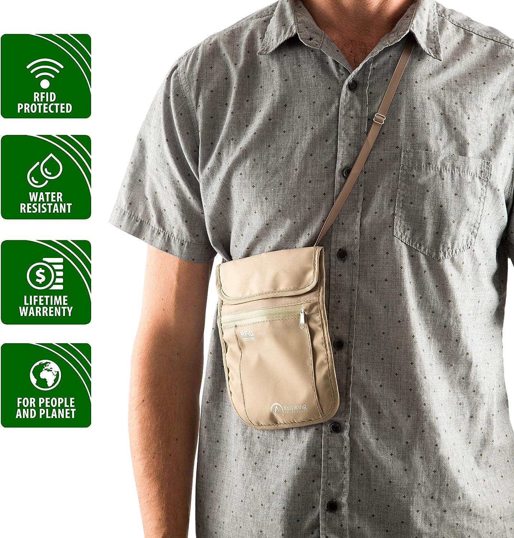Cachette de cou r/ésistant /à leau S/écurit/é de blocage RFID avec sangle ajustable par Inspiring Adventures petite Pochette tour de cou de voyage Support de passeport et pochette pour argent