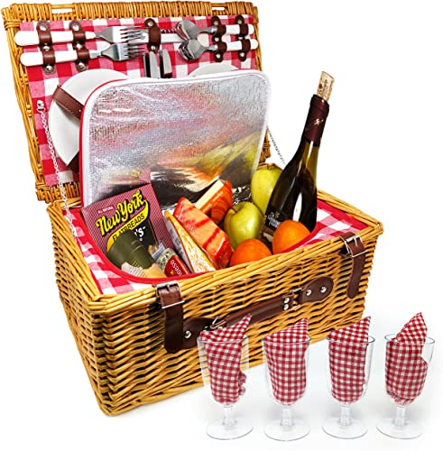 Nature Gear Upgraded 4 Person XL Picnic Basket 4 Person, Red White