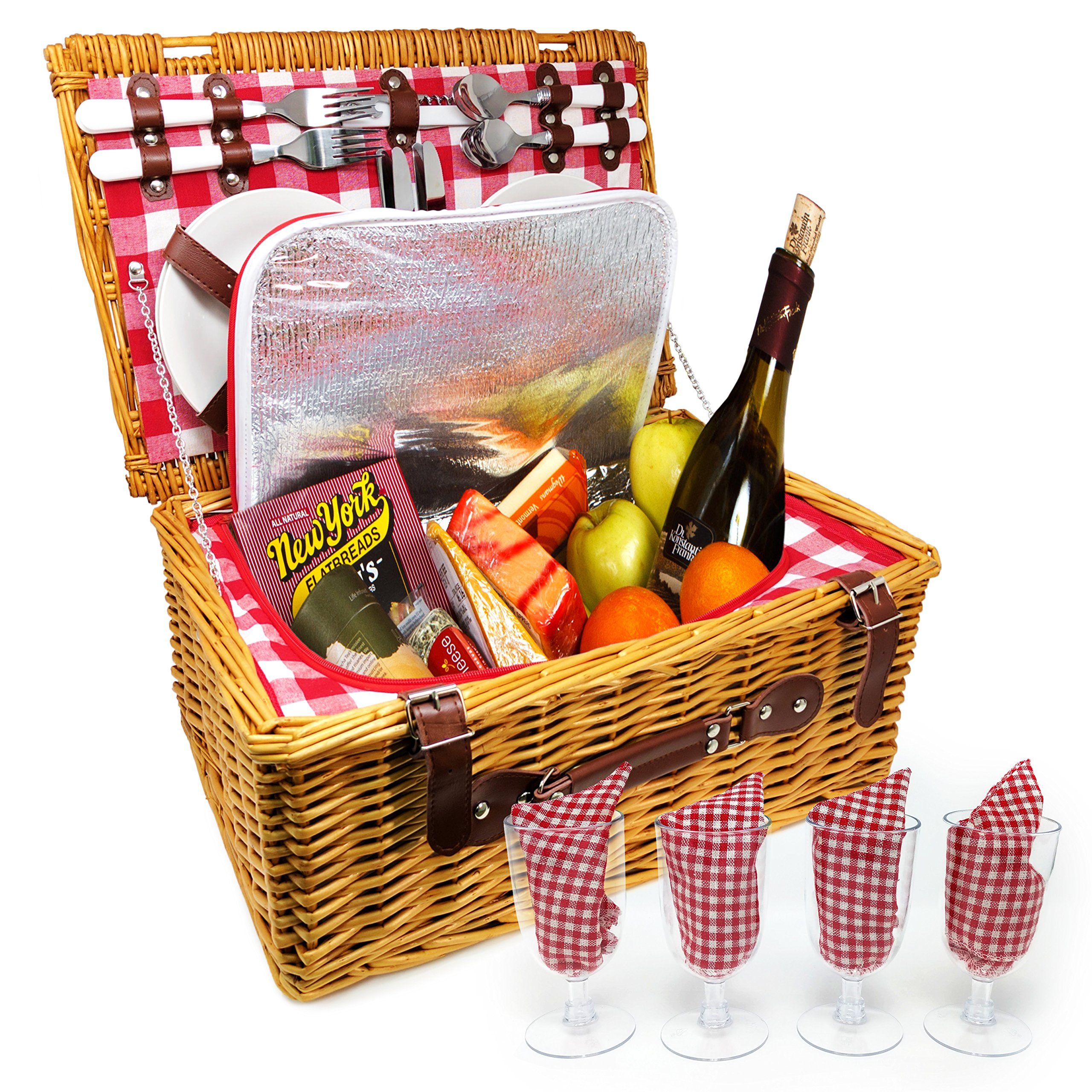 UPGRADED Picnic Basket 2020 Model - INSULATED 4 Person Wicker Hamper - Premium Set with Plates, Wine Glasses, Flatware and Napkins by Nature Gear