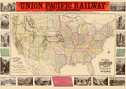 27359792eb945 Amazon.com: Old Railroad Map - Union Pacific Railway - Rand McNally ...