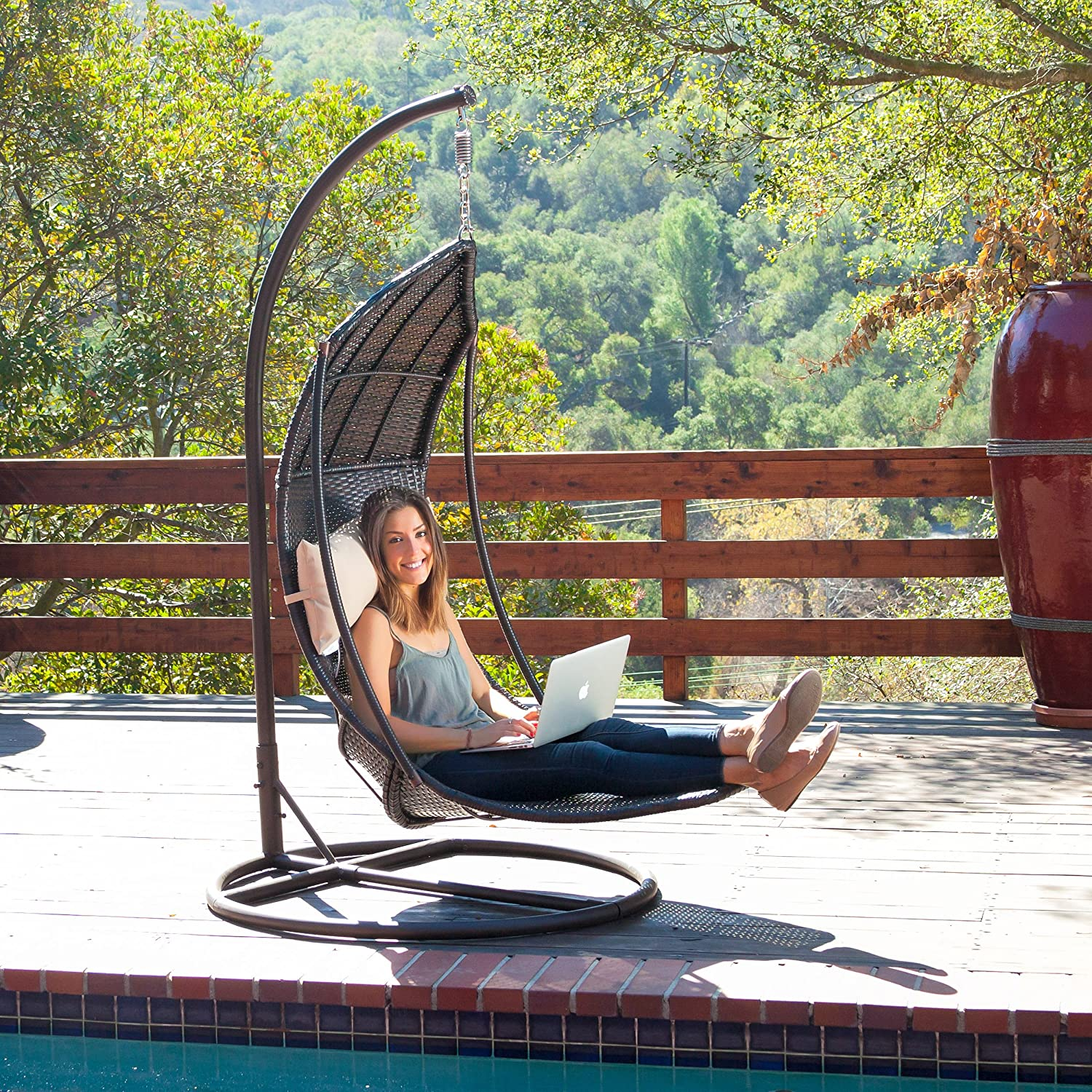 Charmant Amazon.com : Outdoor Brown Wicker Hanging Chair With Cushions : Garden U0026  Outdoor