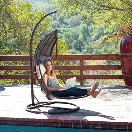 Surprising Outdoor Brown Wicker Hanging Chair With Cushions Download Free Architecture Designs Ferenbritishbridgeorg