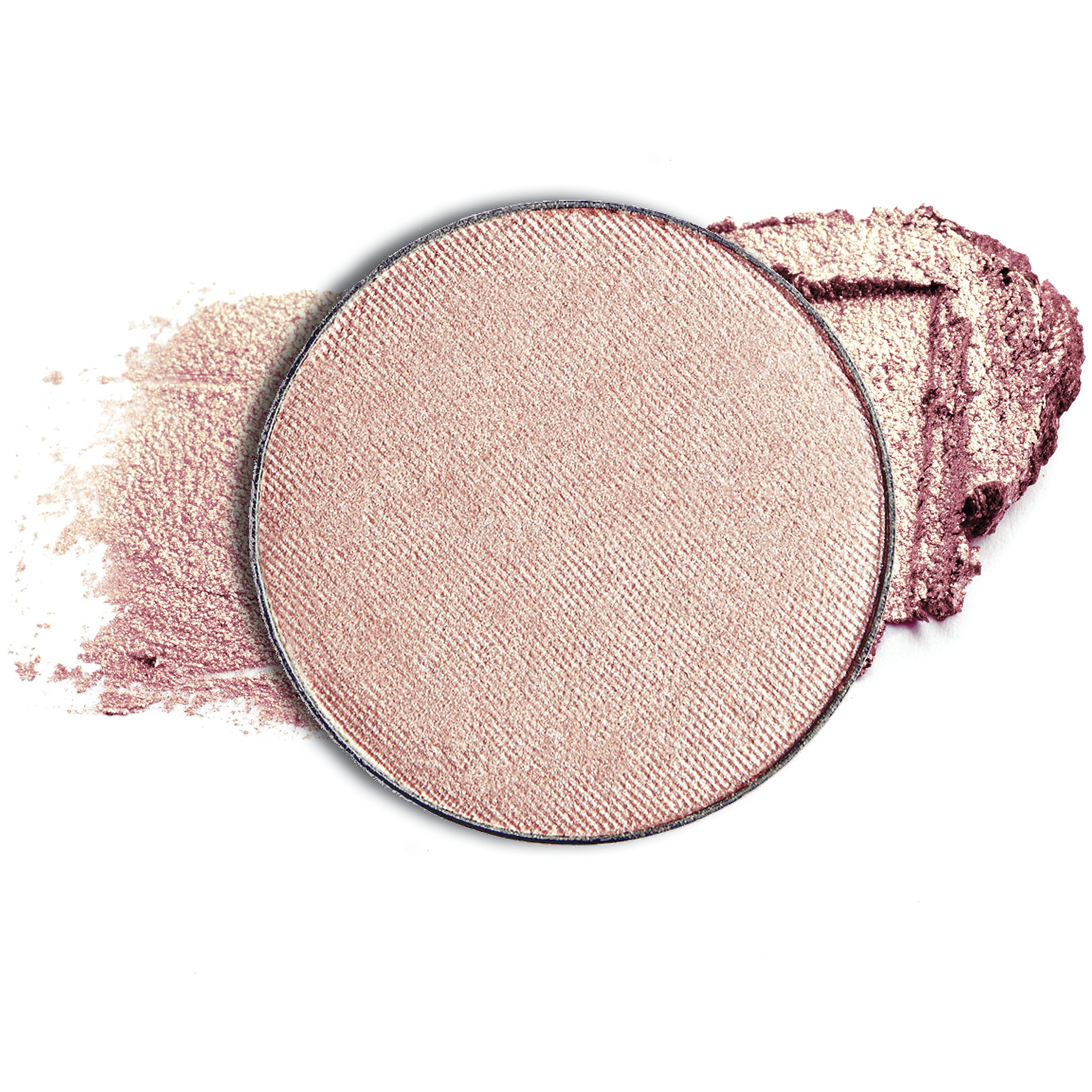 Dollup Beauty Rose Gold Powder Blusher, Bronzer & Highlighter — Shimmering Light Catching Pressed Powder For Face & Body. Pan-only. Color Pink Glow.