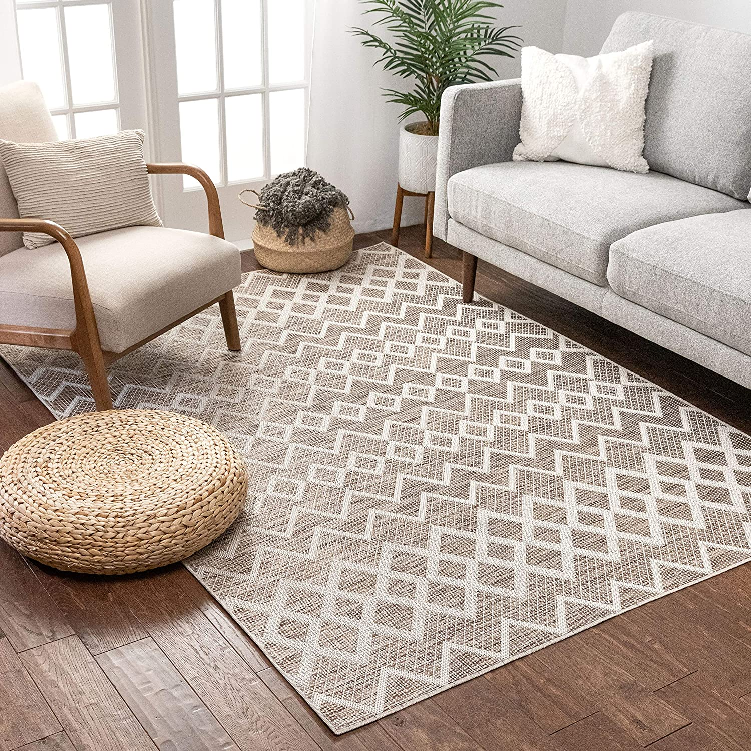 Amazon Com Well Woven Alina Beige Moroccan Flatweave Tribal Geometric Pattern Area Rug 5x7 5 3 X 7 3 Home Kitchen