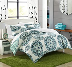 Chic Home Ibiza 3 Piece Duvet Cover Set Bedding with Decorative Shams, Full/Queen, Green