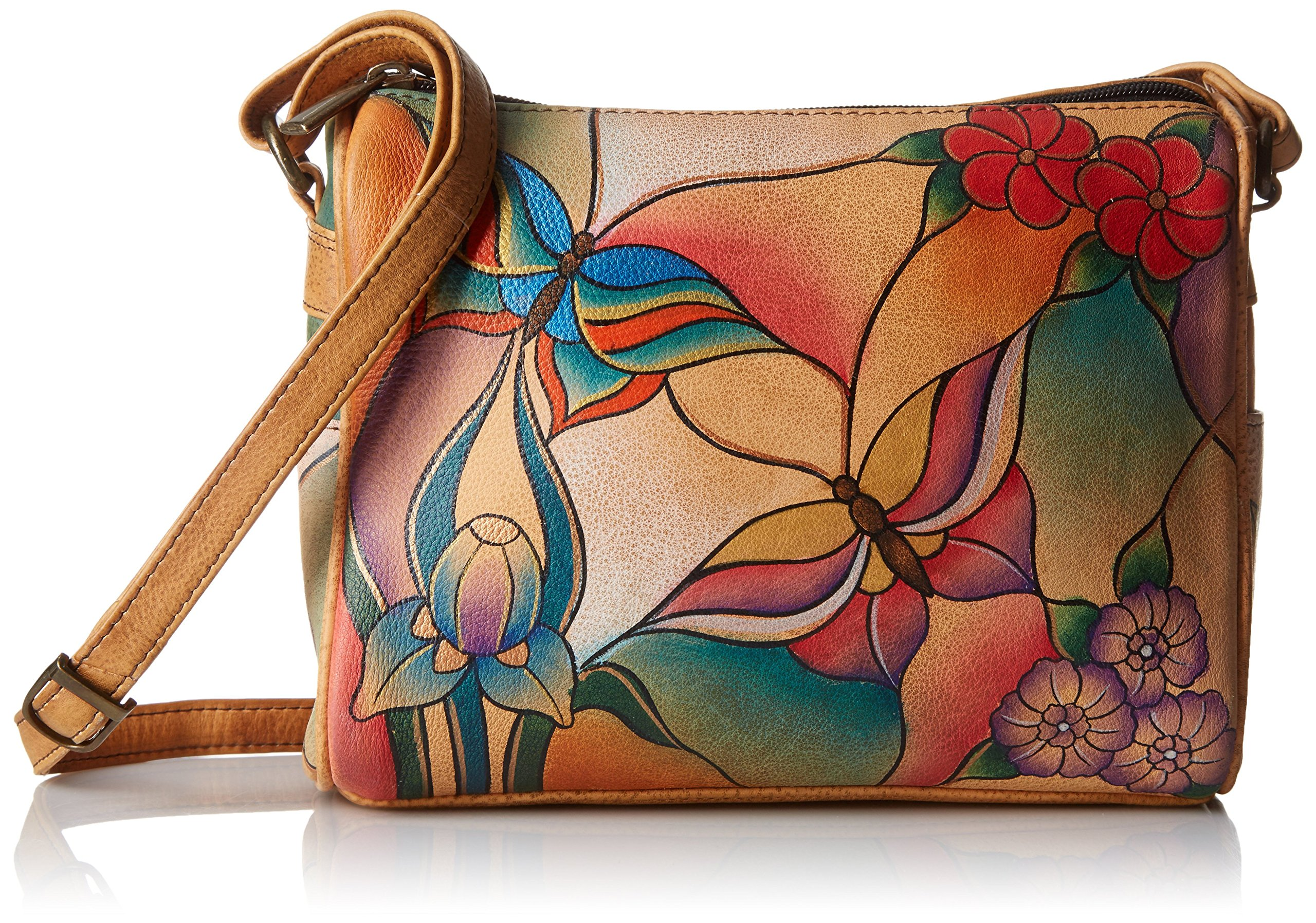 Anuschka Handpainted Leather Twin Top Small Convertible, Butterfly Glass Painting, One Size by Anna by Anuschka