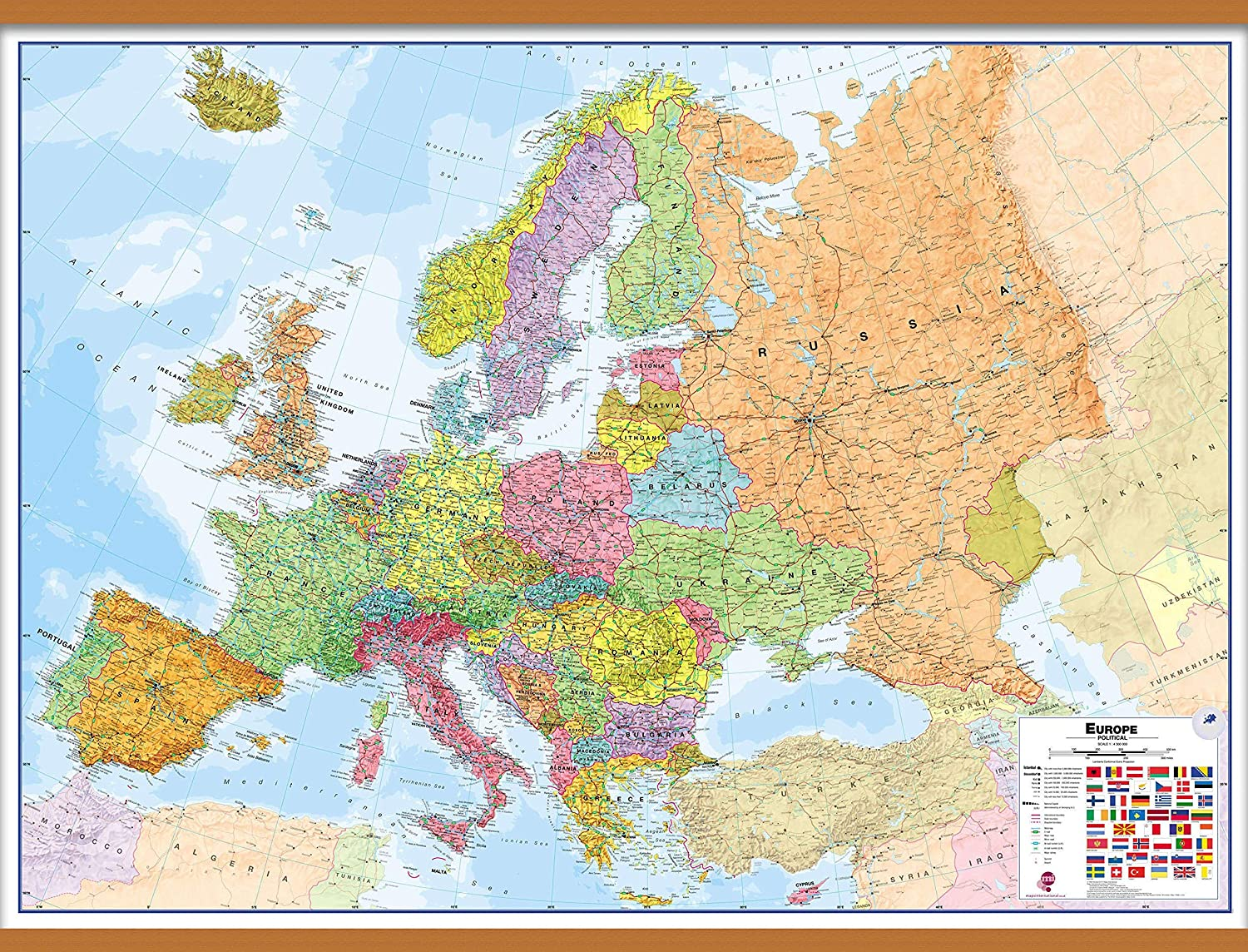 Large Map Of Europe Amazon.: Maps International Large Political Europe Educational