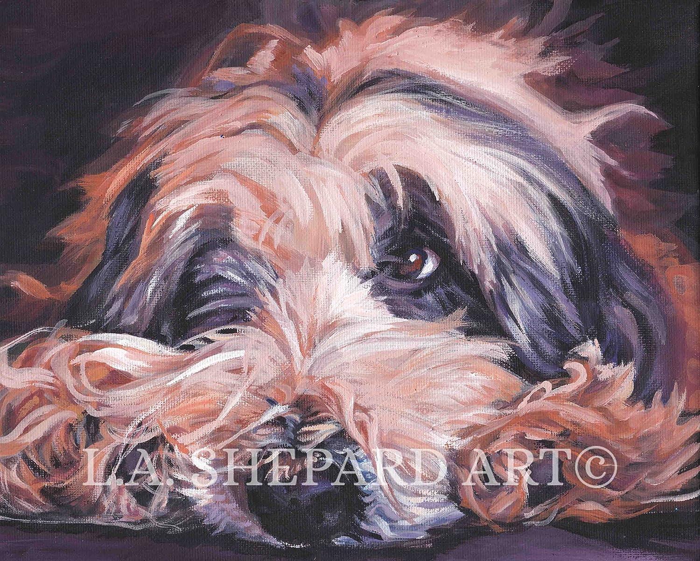Bearded collie BEARDIE dog ART PRINT of LAShepard painting 11x14