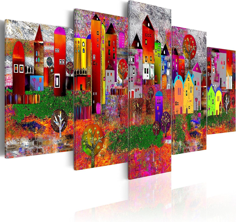murando - Cuadro en Lienzo Colorido 200x100 - Impresión de 5 Piezas Material Tejido no Tejido Impresión Artística Imagen Gráfica Decoracion de Pared Ciudad Colorido Abstracto Casa d-A-0052-b-m
