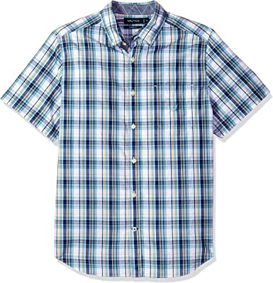 Nautica Hombre Manga Corta Camisa de Botones - Azul - Medium: Amazon.es: Ropa y accesorios