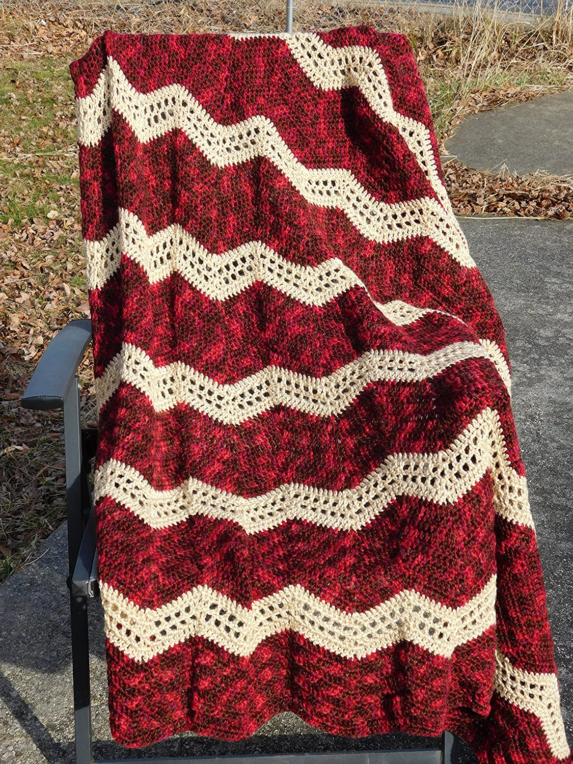Amazon Hand Crocheted Variegated Reds And Ecru Afghan Throw