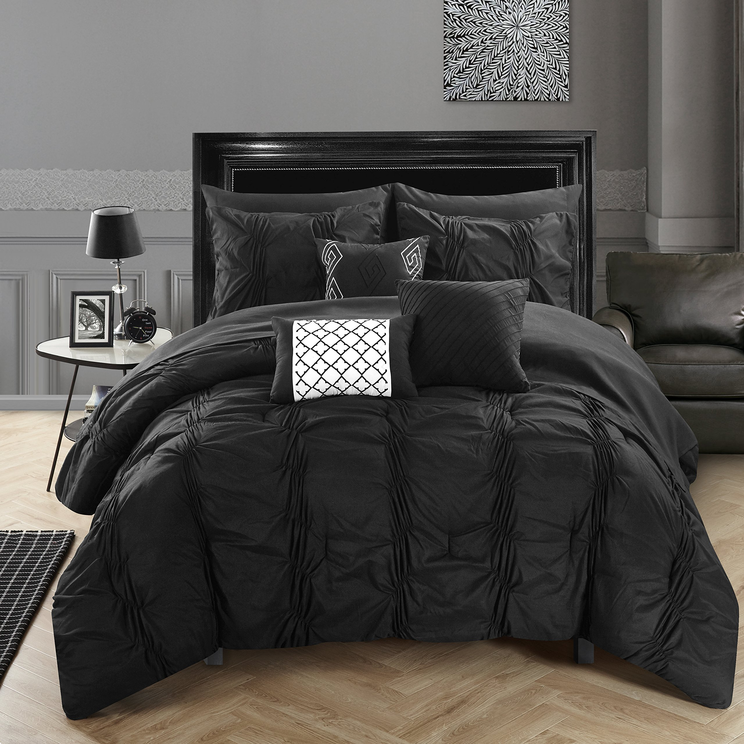 Chic Home 10 Piece Tori Pinch Pleated, Ruffled And Pleated Complete Bed In A Bag Comforter Set Sheets Set And Deocrative Pillows Included, King, Black