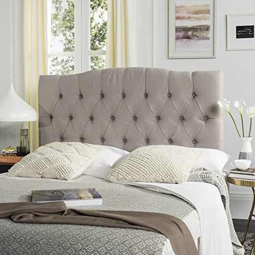 Safavieh Axel Taupe Linen Upholstered Tufted Headboard Queen
