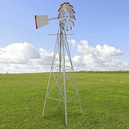 Bon 8u0027 Windmill Ornamental Garden Weather Vane Weather Resistant Silver And Red