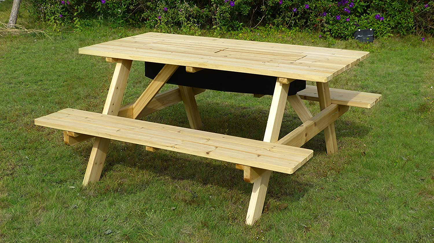 Merry Garden Cooler Wooden Picnic Table and Bench Kit Outdoor Patio Dining Table, Natural