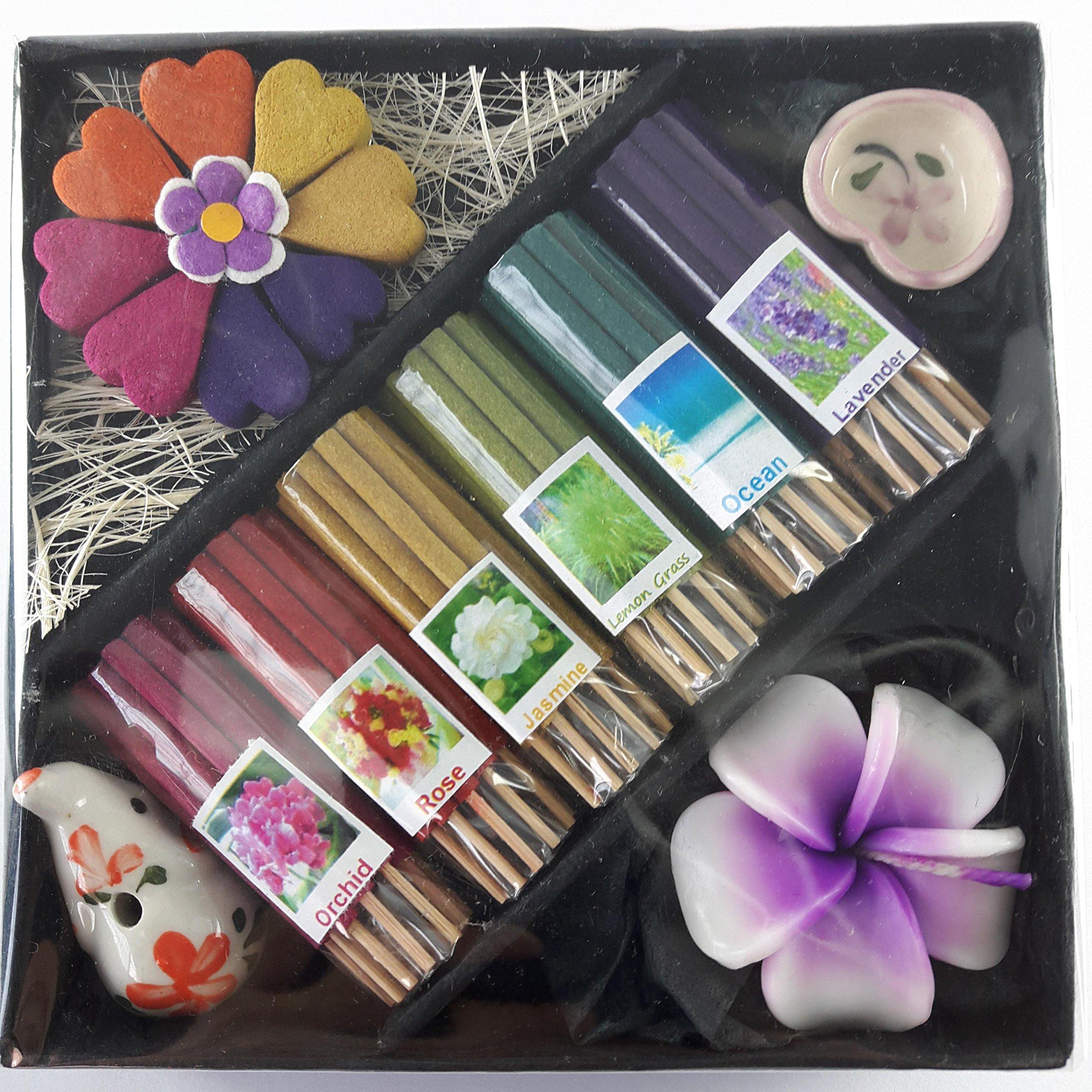 Thai Mix 6 Scent Relax Sticks Incense Spa Aroma Fragrance Cones Burner Ceramic Holder
