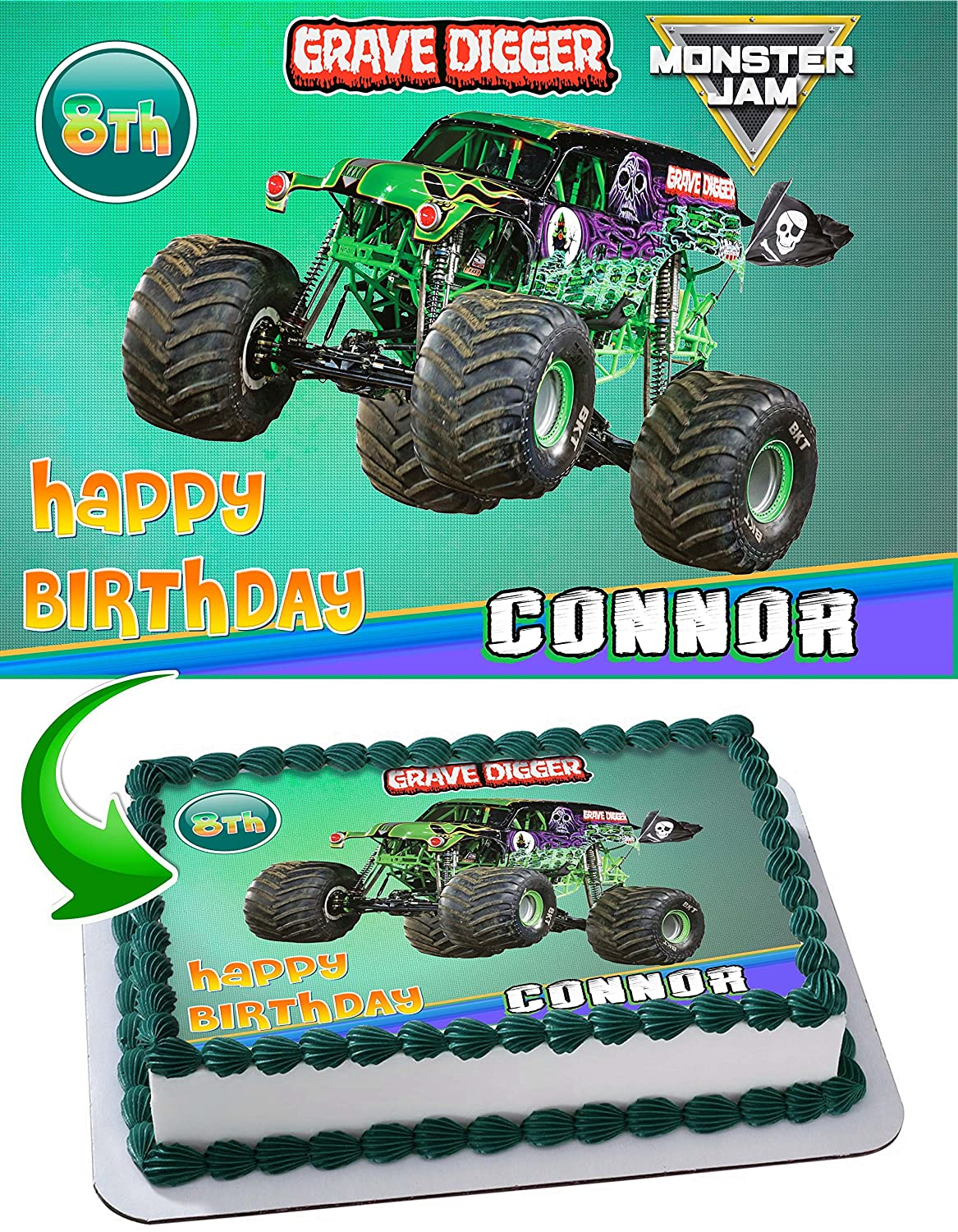 Monster Truck Grave Digger Monster Jam Edible Cake Topper