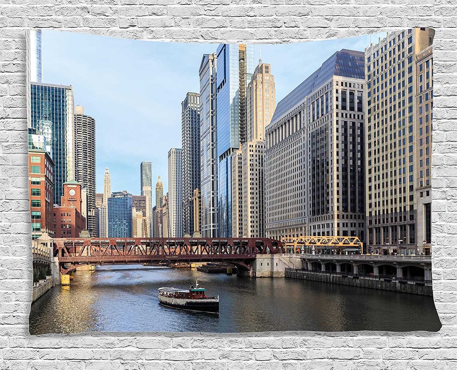 Ambesonne Apartment Decor Collection Bedroom Living Room Dorm Wall Hanging Tapestry 80W X 60L Inch The Chicago River Between The Great Lakes And The Mississippi Valley Waterways.