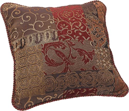 Croscill 2A0-590O0-6405 610 Galleria Square Pillow, 18-inch by 18-inch, Red