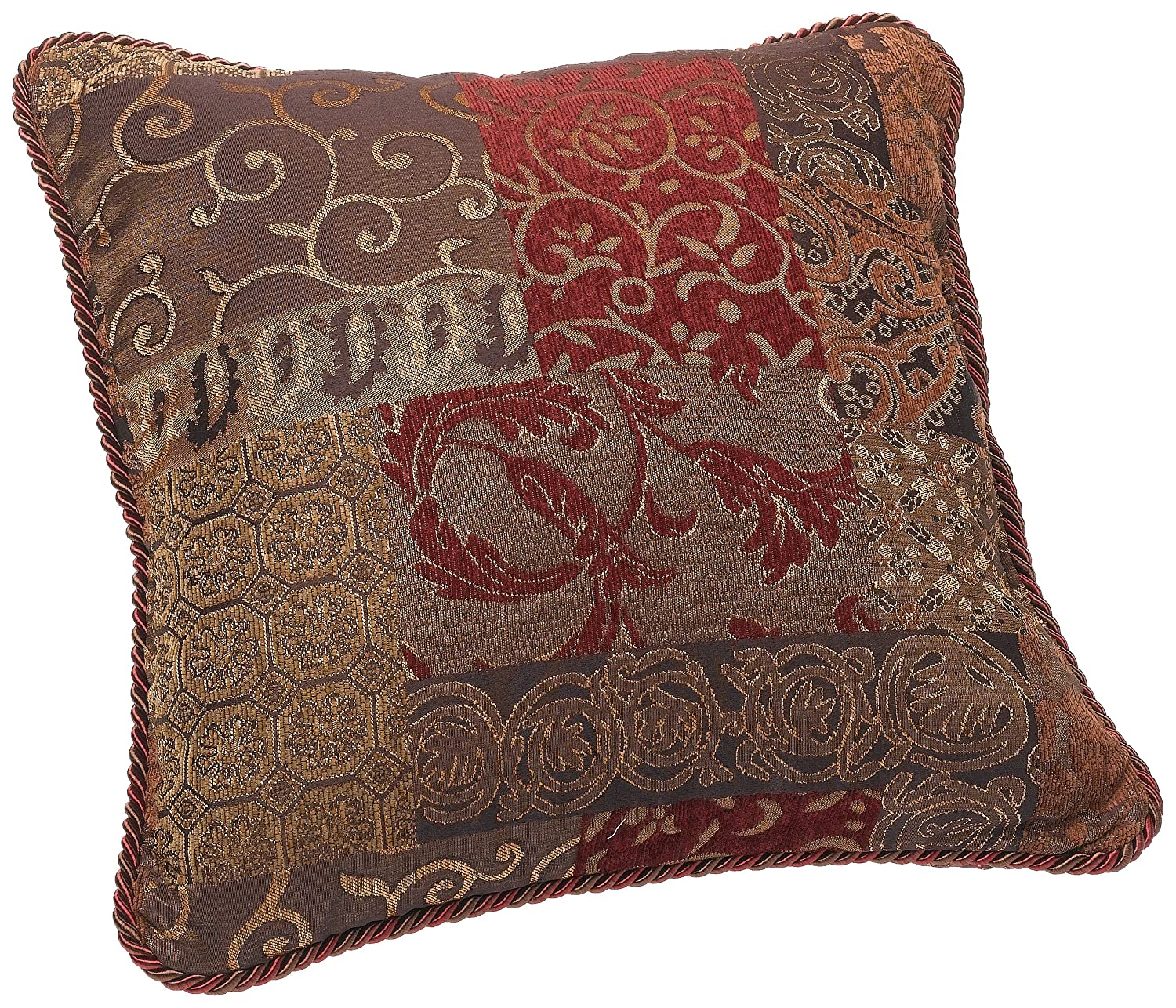 Croscill Galleria Square Pillow, 18-inch by 18-inch, Red 2A0-590O0-6405/610