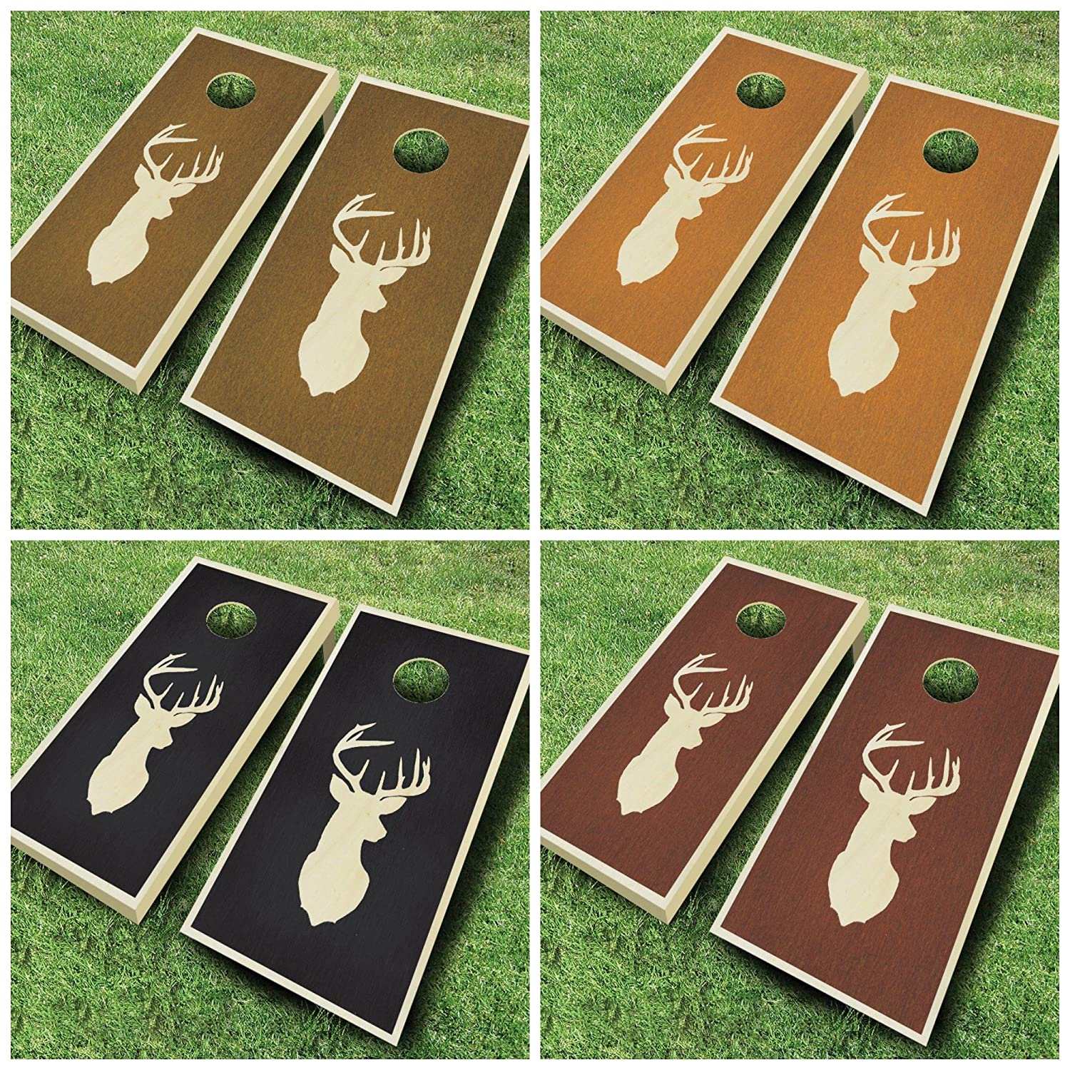 Buck 白いtail Deer Hunting Stained Cornholeボードregulation sizeゲームセットBean Bag Toss + 8 ACA Regulation Bags Rosewood Stain