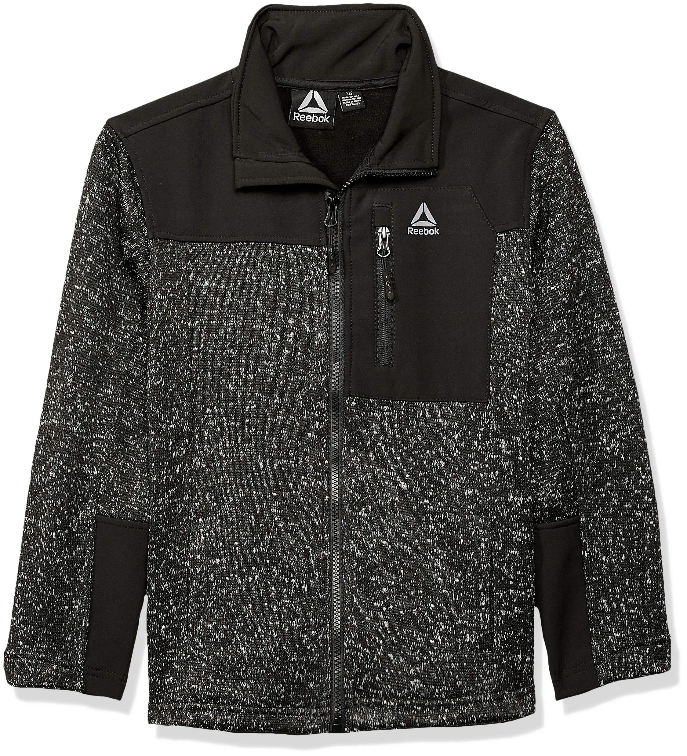 Reebok Boys' Big Active Sweater Fleece Jacket, Black Heather, 8