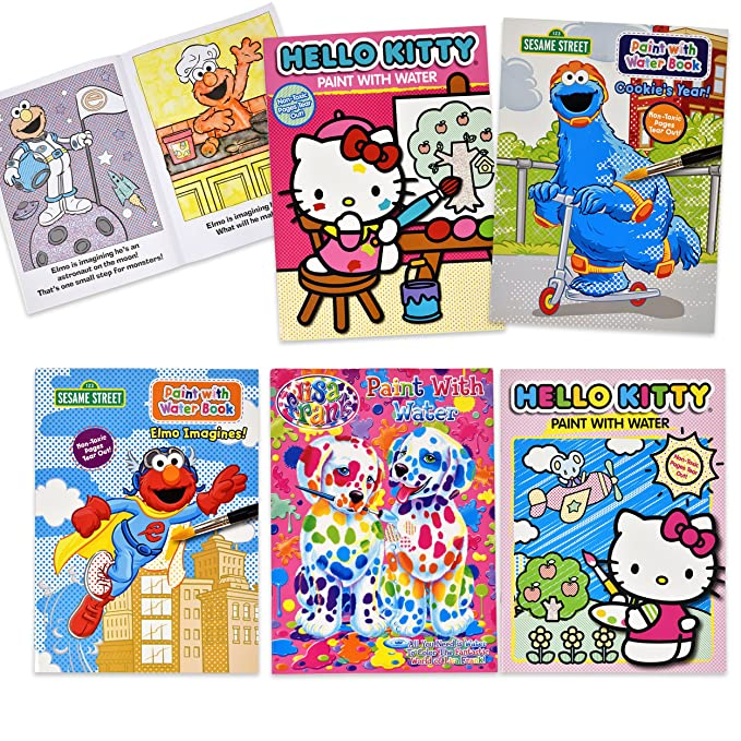 Gift Boutique Paint with Water Activity Book - Sesame Street Elmo Hello  Kitty Lisa Frank Set of 5 for Kids Toddlers & Girls Mess Free Travel  Coloring