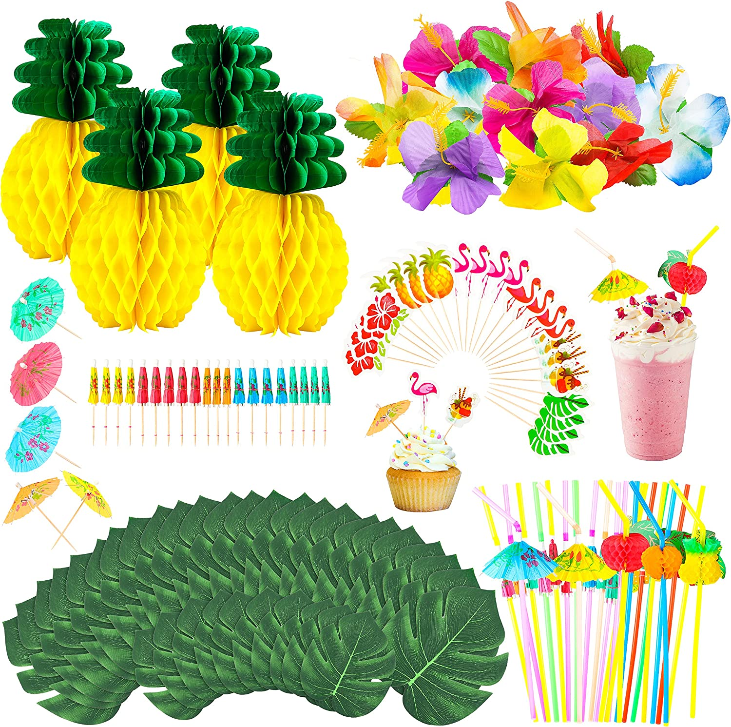 135 Pcs Tropical Hawaiian Jungle Party Decoration Set Luau Party Supplies Decor Tropical Palm Leaves Silk Hibiscus Flowers Tissue Paper Pineapples Cupcake Topers Paper Cocktail Umbrellas Straws