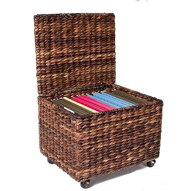 BIRDROCK HOME Seagrass Rolling File Cabinet - Storage - Home Office Decor - Abaca - Espresso