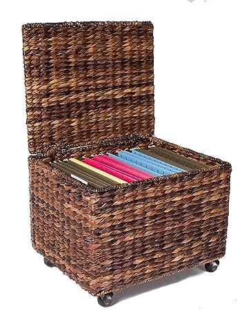 BirdRock Home Seagrass Rolling File Cabinet | Storage | Home Office Decor |  Abaca | Espresso