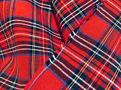 PER Yard Scottish Royal Stewart Red Checks Canvas 55 inches Wide Tartan Plaid Check Designer Fabric Curtain Upholstery Cotton Material