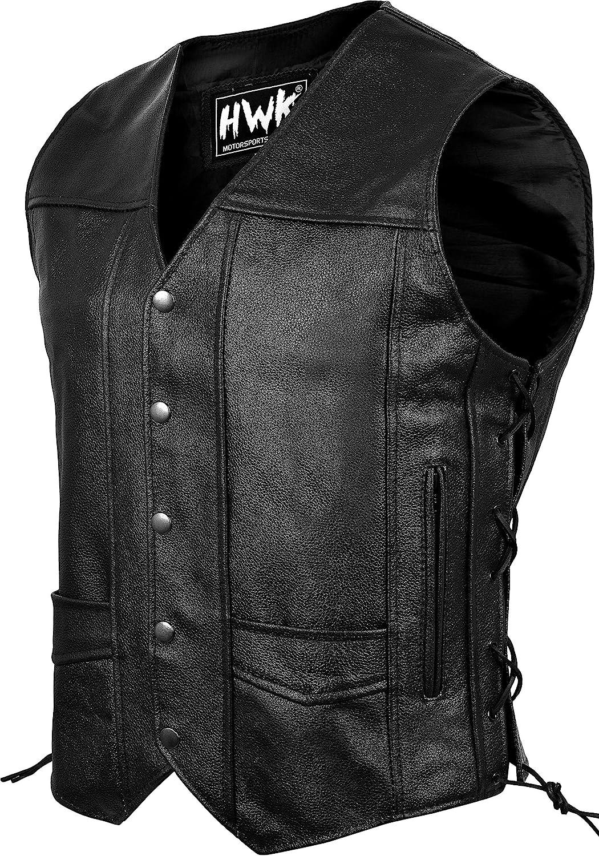 HWK Leather Motorcycle Vest