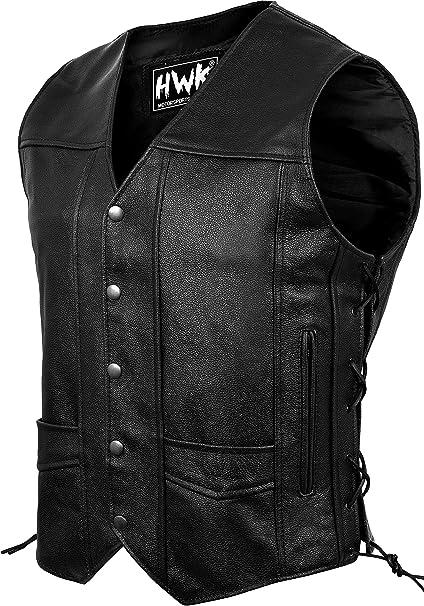 Mens Classic Leather Motorcycle Biker Concealed Carry Vintage Vest Black XL