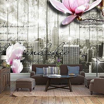 Fototapete Style New York Blüten Vlies Tapete Wandtapete XXL 400 X 280 Cm    8 Teile