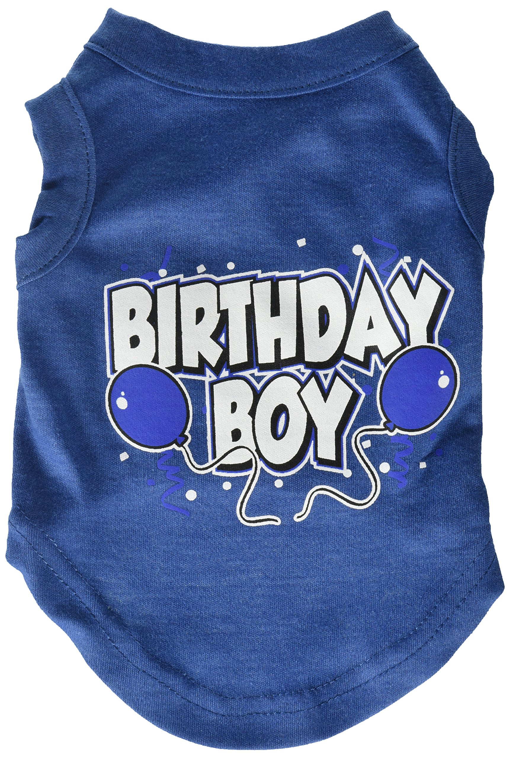 Mirage Pet Products 10-Inch Birthday Boy Screen Print Shirts, Small, Blue