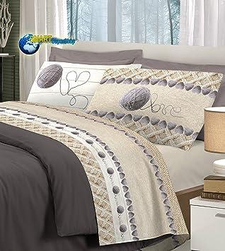 Smartsupershop Parure de lit en flanelle douce pour lit 2 places, motif  cœurs et pelotes e1b7ab32bba4