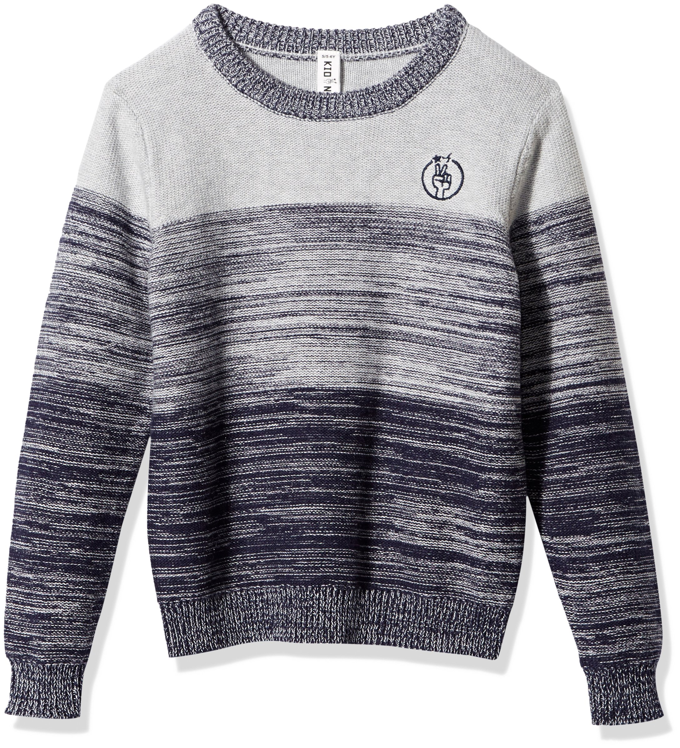 Kid Nation Boys' Engineered Stripe Long-Sleeve Pullover Sweater L Gray