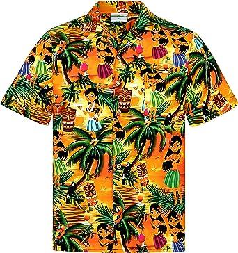 Camisa Hawaiana | Hombre | Manga Corta | 100% Algodón | S - 8XL | Aloha Muchachas Borrachas | Playa | Palmas | Naranja | Hawaiiana | Hawaii: Amazon.es: Ropa y accesorios