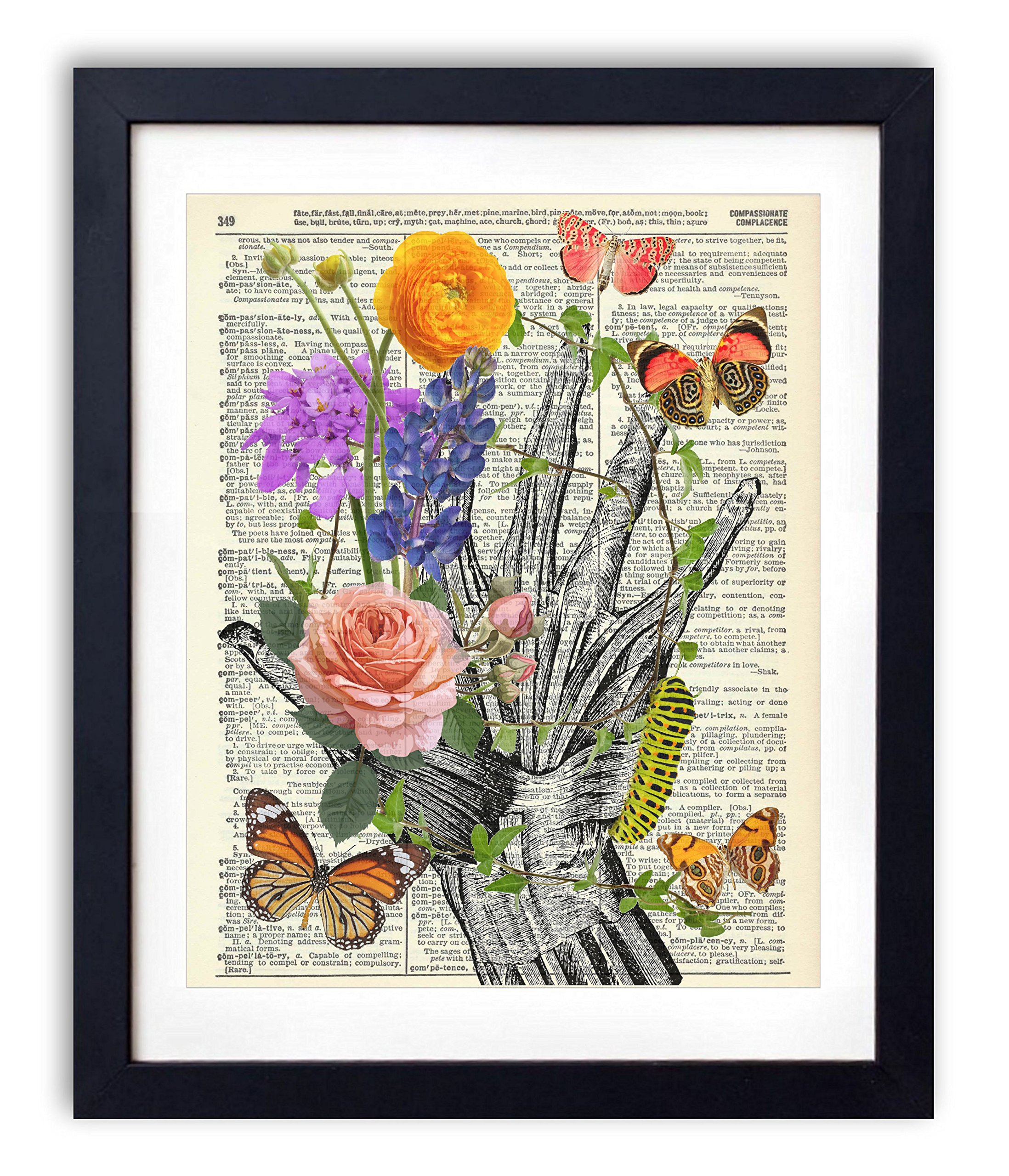 Hand With Flowers and Butterflies Upcycled Vintage Dictionary Art Print 8x10 by Vintage Book Art Co.
