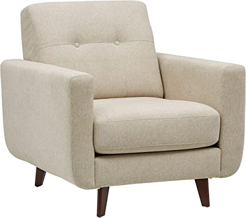 Amazon Brand Rivet Sloane Mid-Century Modern Armchair with Tapered Legs, 32.7 W, Shell